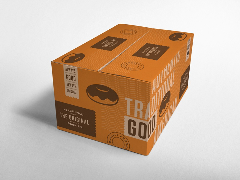 The Original - Packaging II mockup tasty good doonies logo pattern traditional original layout packaging doughnuts