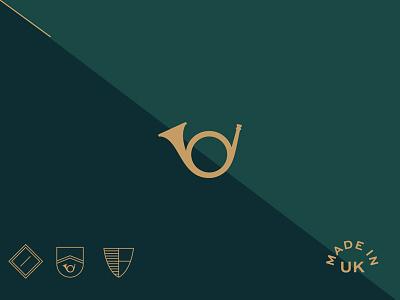 Basterfield branding heraldy golden green logo england uk identity branding bugle clothing basterfield
