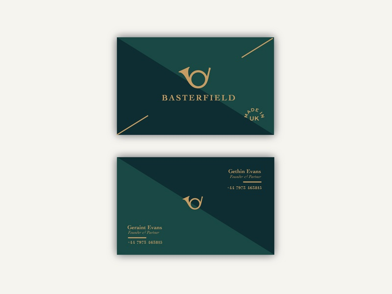 Basterfield cards gold green identity logo branding bugle cards business cards basterfeld