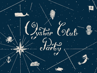 Oyster Club Party Invite I star wale pirate mermaid shark themed naval club carrot instacart oyster party