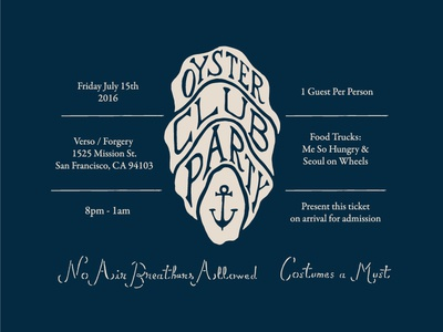 Oyster Club Party Invite II menu schedule navy invitation invite oyster illustrations hand-drawn lettering