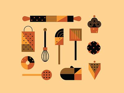 Baking Illustrations cookware doughnut cake sweets sweetist color geometry baking bakery illustration identity branding