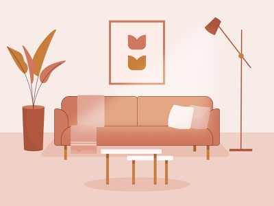 Cozy Living Room house living room cozy floor lamp lamp plant sofa interior vector graphic design design illustration