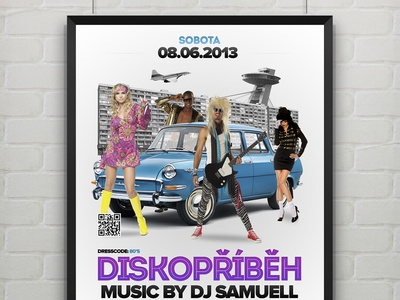 Retro Party (Flyer) retro party flyer print disco old car dance poster event