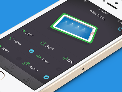 LVL0 - Pool Control App pool control app iphone remote application design ui