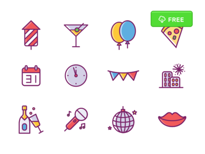 New Years Eve - Icon Set vector psd iconset party free freebie icons newyear year new