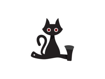 Cat and Axe Logo Template gothic logo shadow logo dark logo limbo pet logo alley cat logo axe logo cat logo