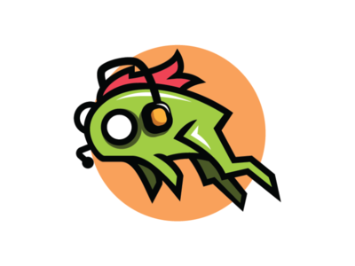 Frog Player Logo Template orange red green gamer player frog earphone logo gamer logo player logo frog logo