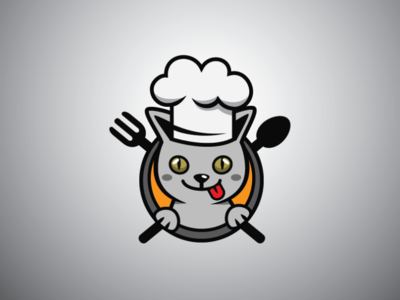 Chef Cat Logo grey cat pet chef hat logo pet logo kitchen logo food logo chef cat logo cat logo chef logo
