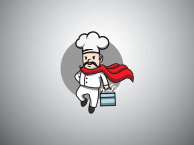 Super here chef food delivery logo restaurant logo kitchen logo food delivery logo super hero logo delivery logo chef logo