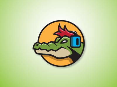 Gator Player Logo streamer logo broadcaster logo player logo gamer logo gator mascot crocodile mascot crocodile logo gator logo earphone logo sound logo music logo