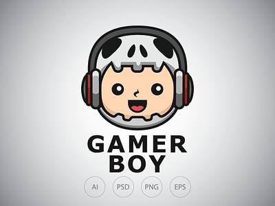 Skull Boy Streamer Logo Template child kid youtuber streamer helmet boy skull