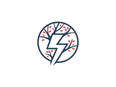 Power Tree Logo thunder logo power logo tree logo logo design logo thunder electric green leaf tree power