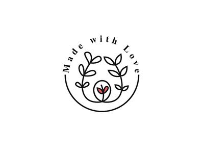 Made with Love Logo style line logo design logo love flower flora floral leaf romantic couple
