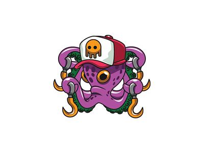 Big Octopus with Hook Logo creature monster big hat red hook animal sea creature squid octopus