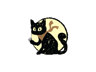 Creepy Black Cat Logo veterinary pet animal character logo template template logo claws black cat krayon crayon