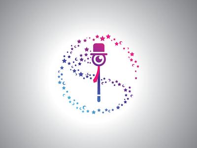 Magic Wand Eye Logo entertainment logo design template logo wand magic wand magician magic