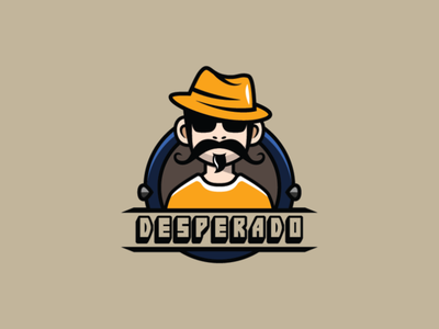 Desperado Streamer Logo man logo spanyol man logo hat logo mustache logo youtube logo streamer logo