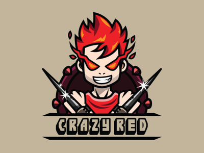 Crazy Red Flame Kid Logo Template flame logo flame kid logo kid logo gamer logo