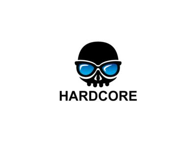 Hardcore Gamer Skull Skeleton Logo Template