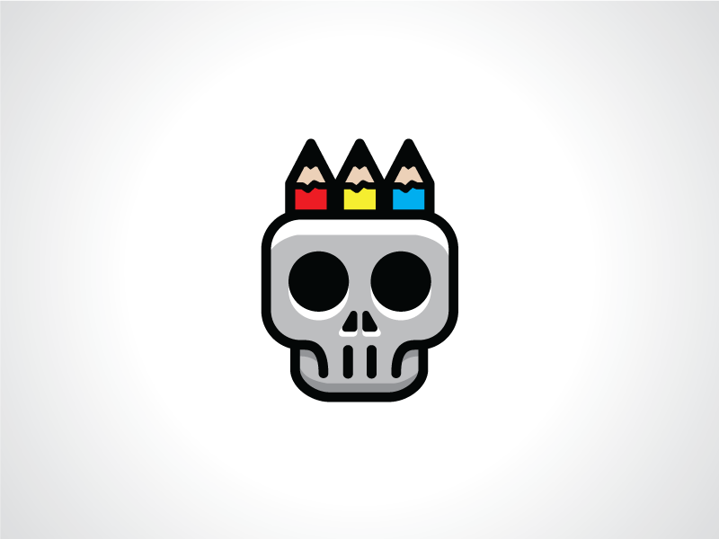 Skull And Pencils Logo Template By