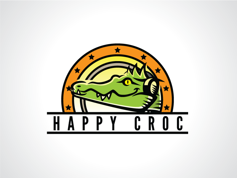 Happy Croc Logo Template template logo fun sound music alligator crocodile gator croc