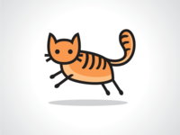 Happy and Jumping Cat Logo Template