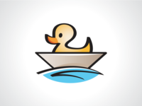 Lazy Duck On the Boat Logo Template