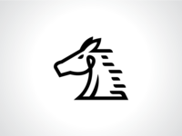 Line Style Horse Stallion Logo Template