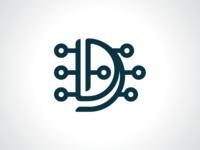 Letter D Circuit - Digital Logo Template