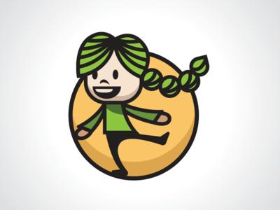Happy Little Girl Logo Template