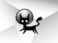 Space Cat with Bubble Helmet Logo Template