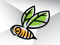 Leaf Wings Bee Logo Template