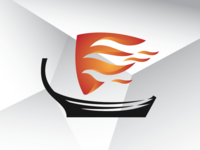 Viking Flaming Boat Logo Template