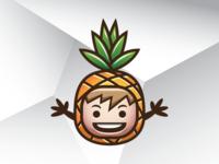 Happy Pineapple Mascot Logo