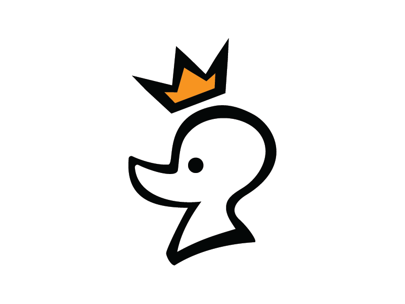 Duck King with Crown Logo Template crown food restaurant pet king duck