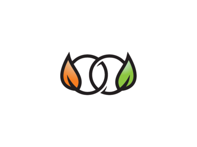Connected Rings Leaf Logo