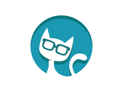 Pretty Nerd Cat Logo Template