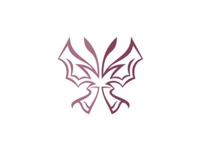 Pink Half Butterfly Logo Template