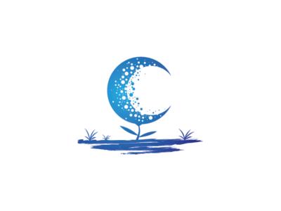 Crescent Moon Flower Logo