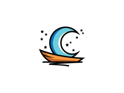 crescent moon on boat logo