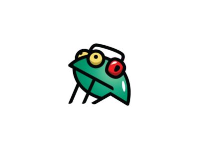 Frog listening to music logo