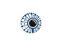 magnifying glass & network logo