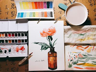 Flower paint watercolor flower