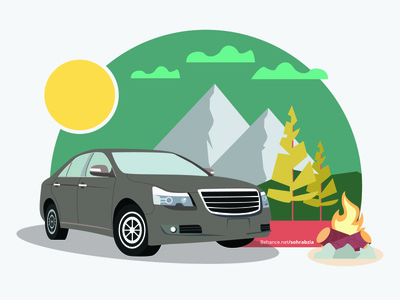 Car Camping illustrator jungle clouds mountain trees car camping campfire fire sun illustration