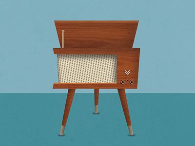 Retro Record Player vintage retro century mid wood record diego san illustration vector