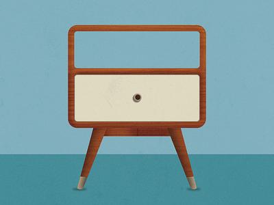 Retro End Table retro vintage diego san furniture wood century mid illustration vector