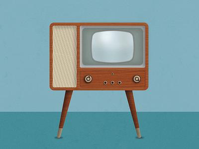 Retro Television  television tv retro vintage diego san furniture wood century mid illustration vector