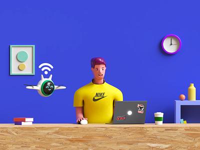 Helping bot 3d illustration selfservice bot freshservice freshworks 3d art 3d art illustration design