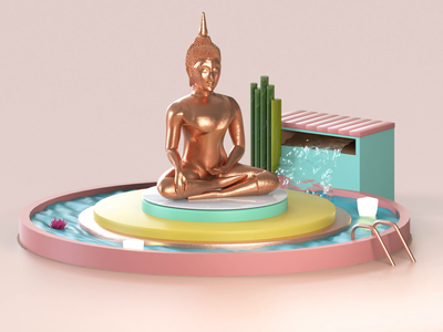 Buddha fountain freshservice freshworks branding designer illustration design